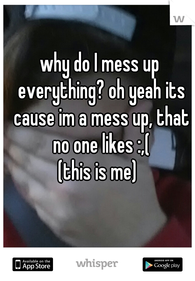 why do I mess up everything? oh yeah its cause im a mess up, that no one likes :,( (this is me)