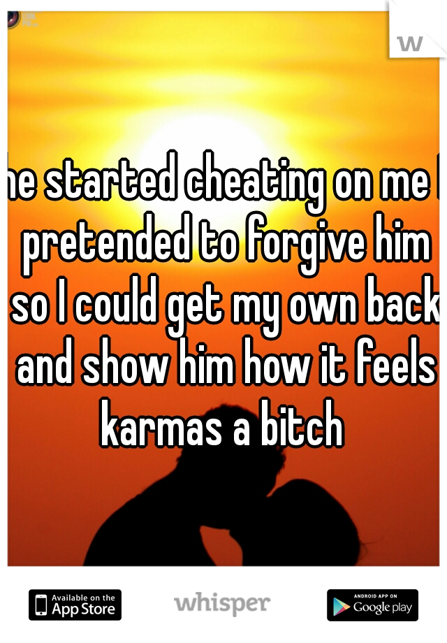 he started cheating on me I pretended to forgive him so I could get my own back and show him how it feels karmas a bitch