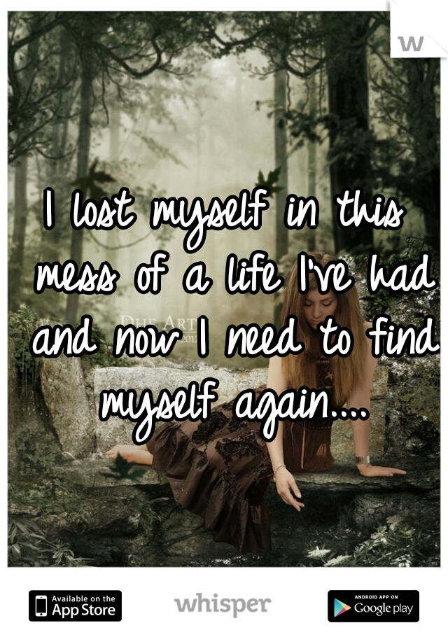 I lost myself in this mess of a life I've had and now I need to find myself again....