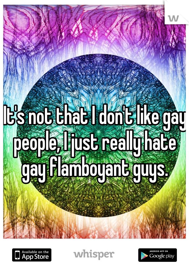 It's not that I don't like gay people, I just really hate gay flamboyant guys.