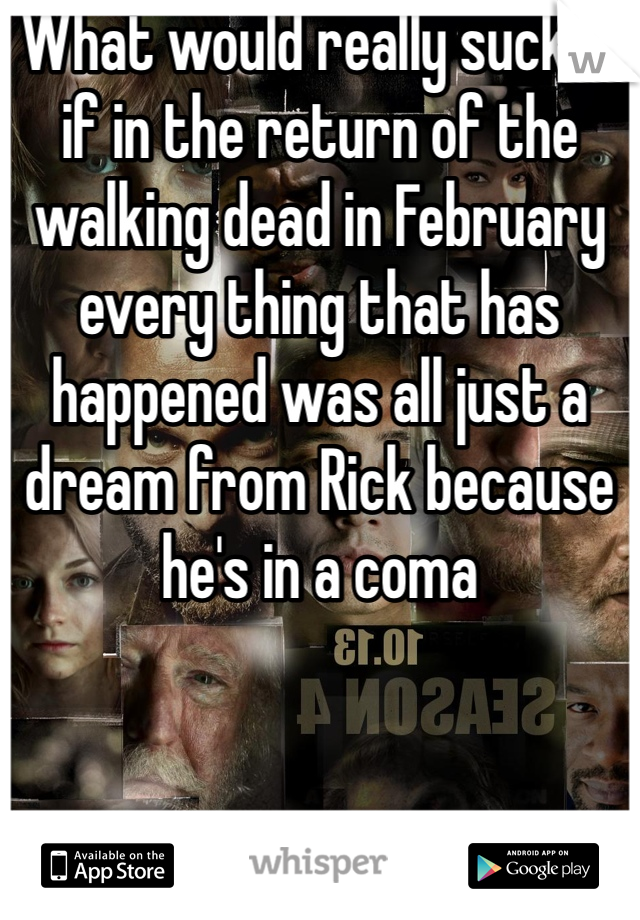 What would really suck is if in the return of the walking dead in February every thing that has happened was all just a dream from Rick because he's in a coma