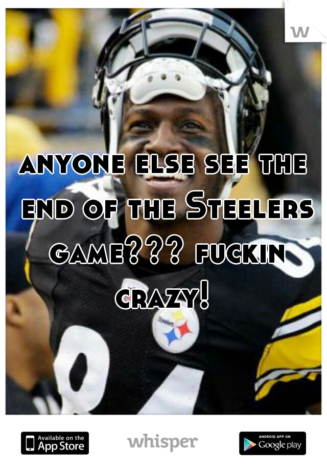 anyone else see the end of the Steelers game??? fuckin crazy!