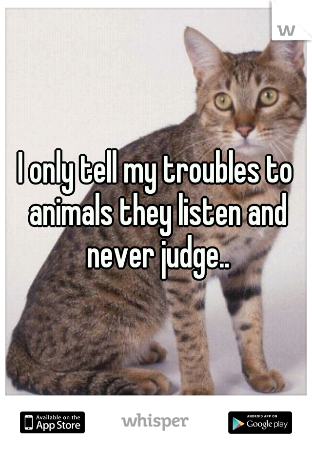 I only tell my troubles to animals they listen and never judge..