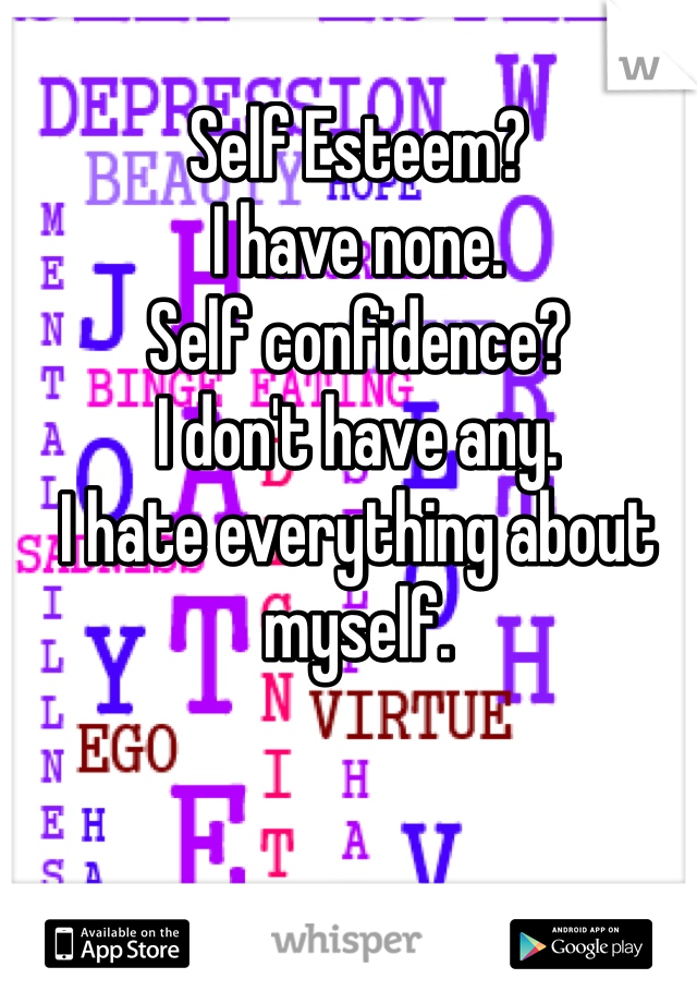 Self Esteem? I have none. Self confidence? I don't have any. I hate everything about myself.