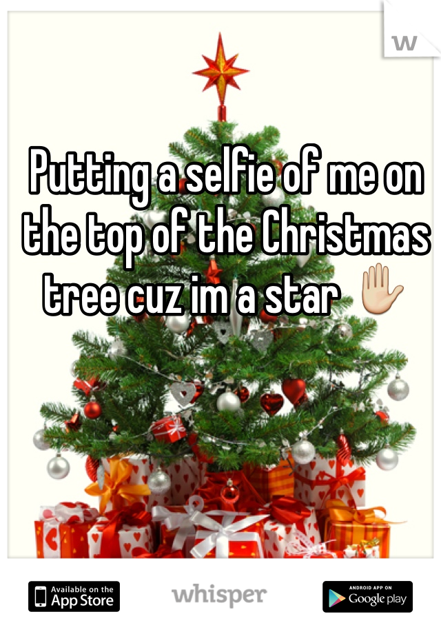 Putting a selfie of me on the top of the Christmas tree cuz im a star ✋