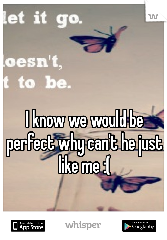 I know we would be perfect why can't he just like me :(