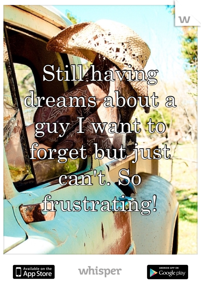 Still having dreams about a guy I want to forget but just can't. So frustrating!