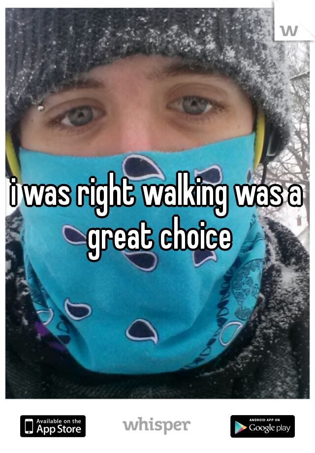 i was right walking was a great choice