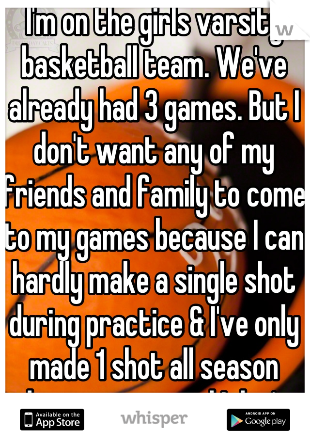 I'm on the girls varsity basketball team. We've already had 3 games. But I don't want any of my friends and family to come to my games because I can hardly make a single shot during practice & I've only made 1 shot all season during games and I don't want to disappoint them