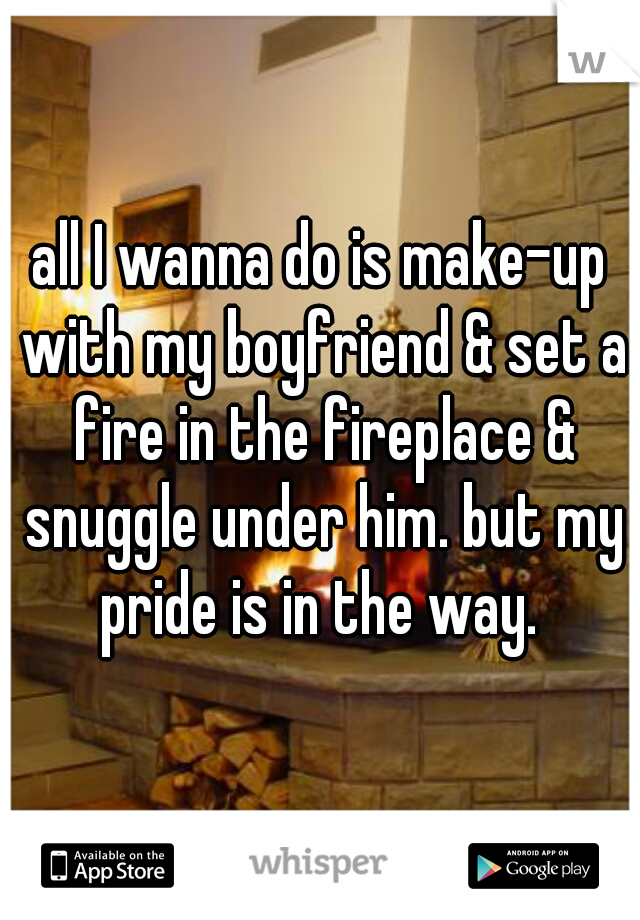 all I wanna do is make-up with my boyfriend & set a fire in the fireplace & snuggle under him. but my pride is in the way.