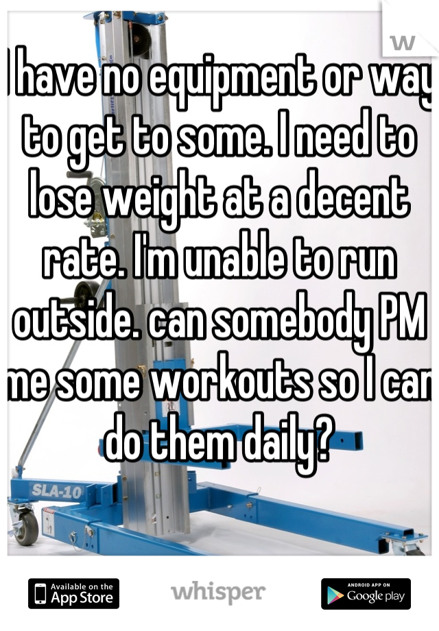 I have no equipment or way to get to some. I need to lose weight at a decent rate. I'm unable to run outside. can somebody PM me some workouts so I can do them daily?
