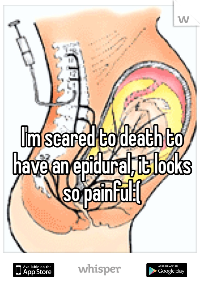 I'm scared to death to have an epidural, it looks so painful:(