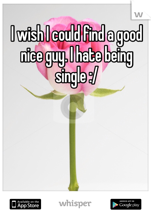 I wish I could find a good nice guy. I hate being single :/