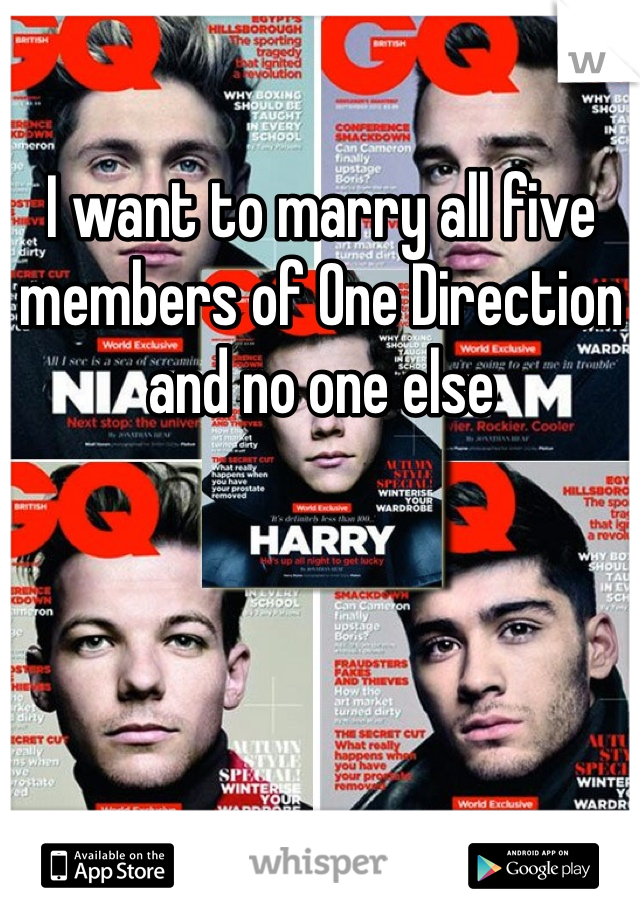I want to marry all five members of One Direction and no one else