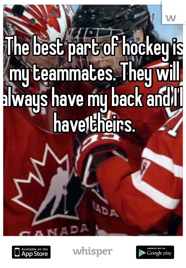 The best part of hockey is my teammates. They will always have my back and I'll have theirs.
