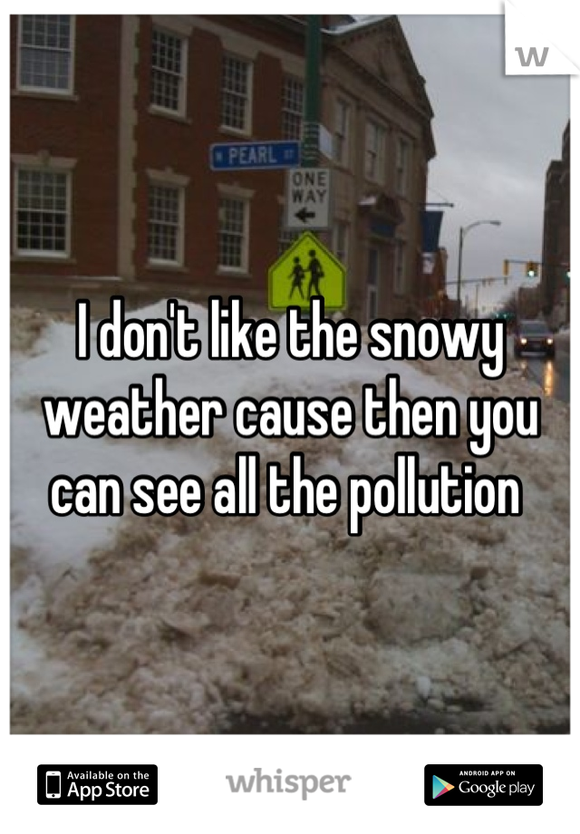 I don't like the snowy weather cause then you can see all the pollution