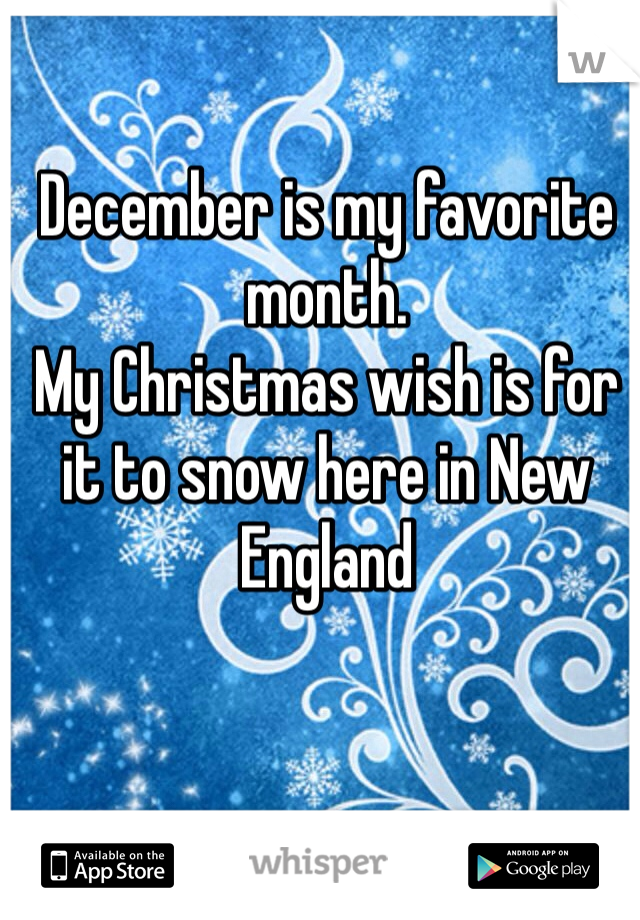 December is my favorite month.  My Christmas wish is for it to snow here in New England