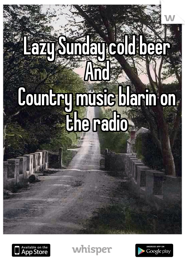 Lazy Sunday cold beer  And Country music blarin on the radio
