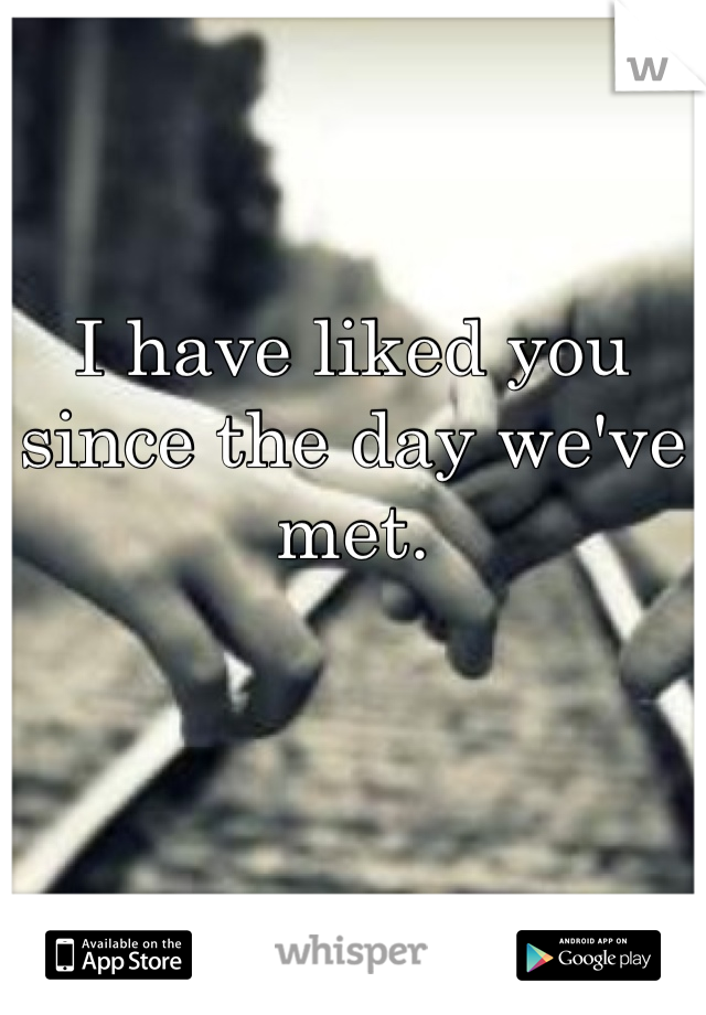 I have liked you since the day we've met.