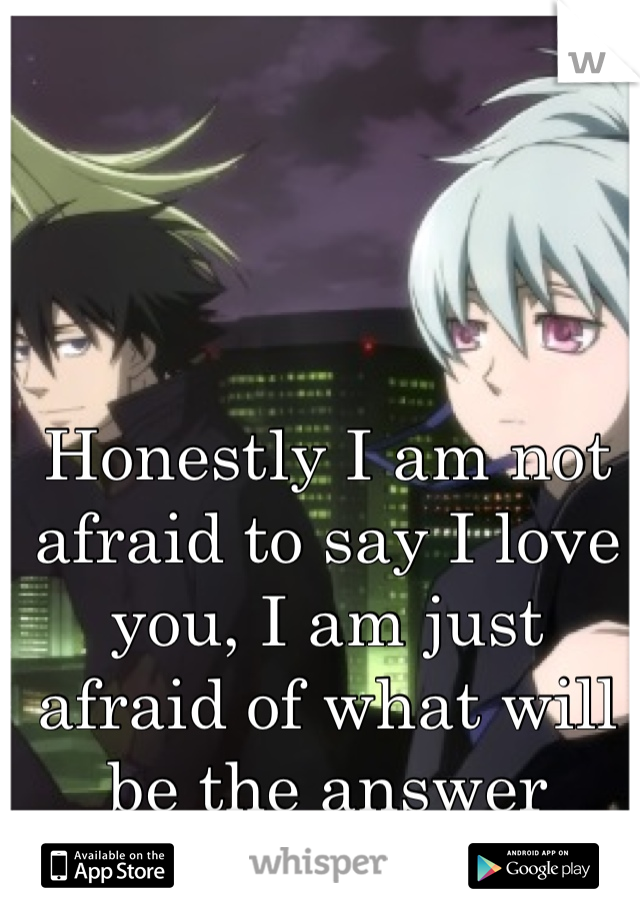 Honestly I am not afraid to say I love you, I am just afraid of what will be the answer