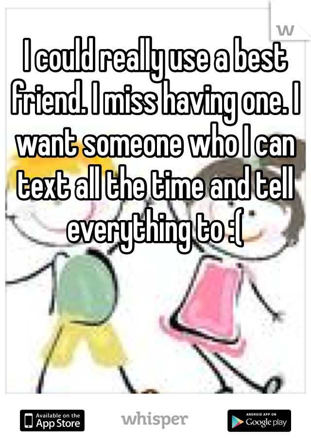 I could really use a best friend. I miss having one. I want someone who I can text all the time and tell everything to :(