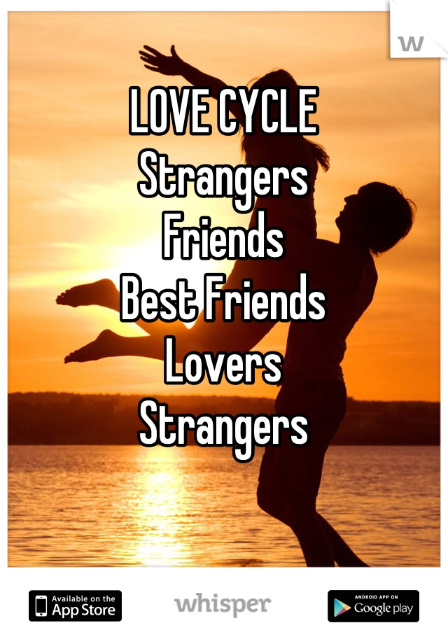 LOVE CYCLE Strangers Friends Best Friends  Lovers Strangers