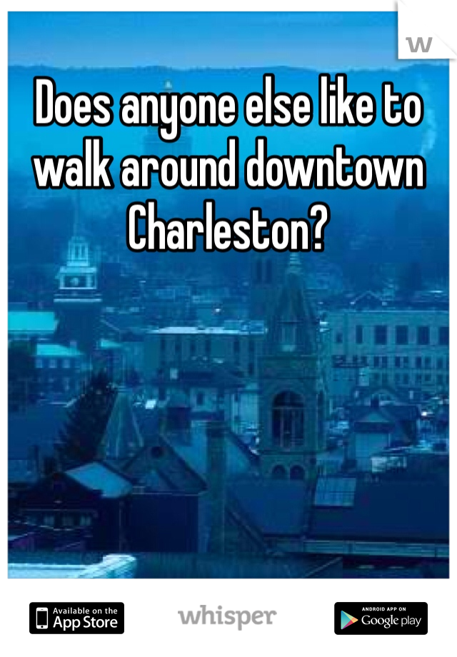 Does anyone else like to walk around downtown Charleston?