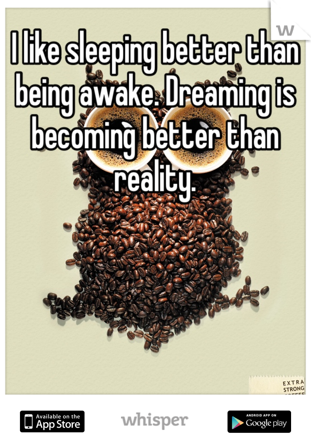 I like sleeping better than being awake. Dreaming is becoming better than reality.