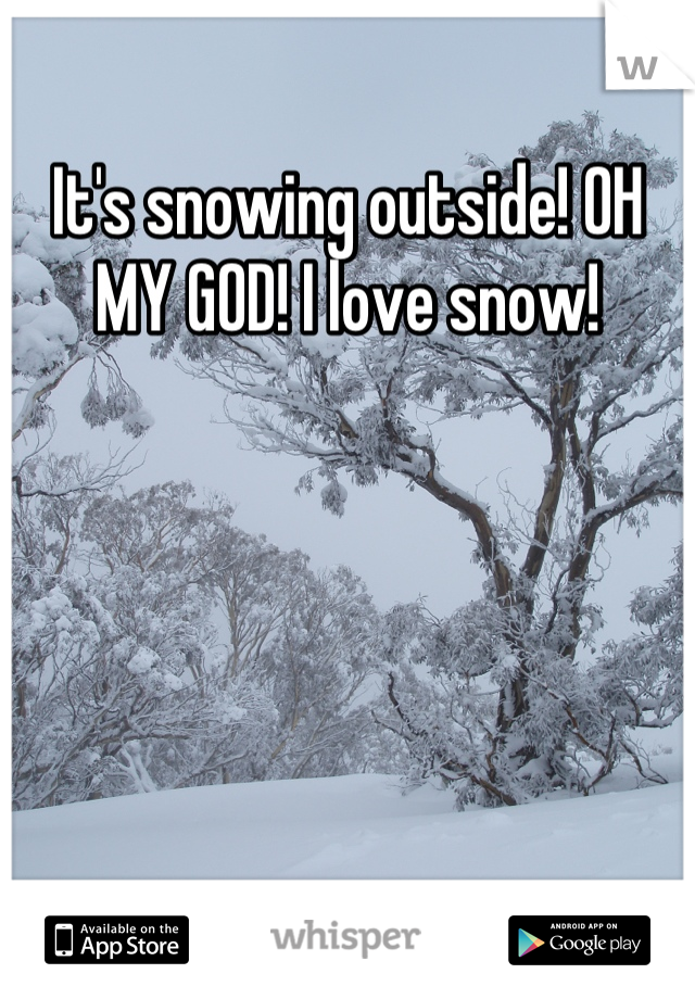 It's snowing outside! OH MY GOD! I love snow!