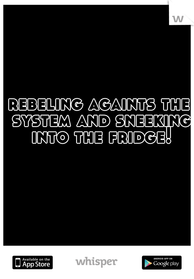 rebeling againts the system and sneeking into the fridge!