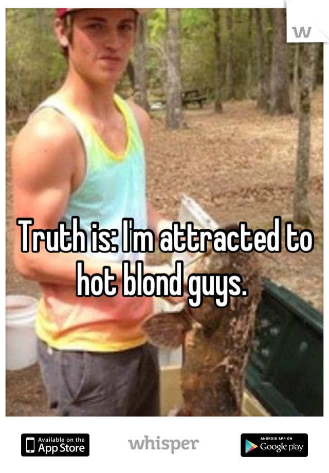 Truth is: I'm attracted to hot blond guys.