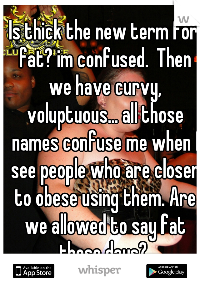 Is thick the new term for fat? im confused.  Then we have curvy, voluptuous... all those names confuse me when I see people who are closer to obese using them. Are we allowed to say fat these days?