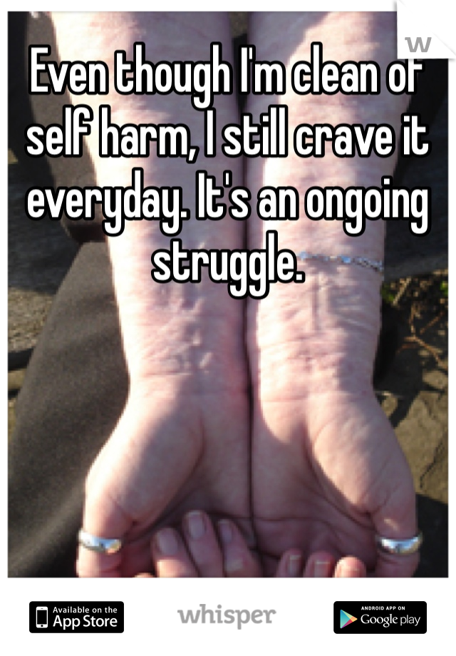 Even though I'm clean of self harm, I still crave it everyday. It's an ongoing struggle.