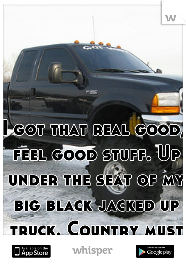 I got that real good, feel good stuff. Up under the seat of my big black jacked up truck. Country must be country wide.
