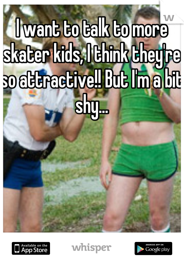 I want to talk to more skater kids, I think they're so attractive!! But I'm a bit shy...