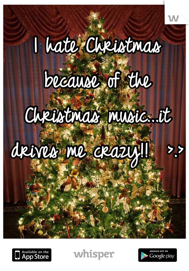 I hate Christmas because of the Christmas music...it drives me crazy!!  >.>