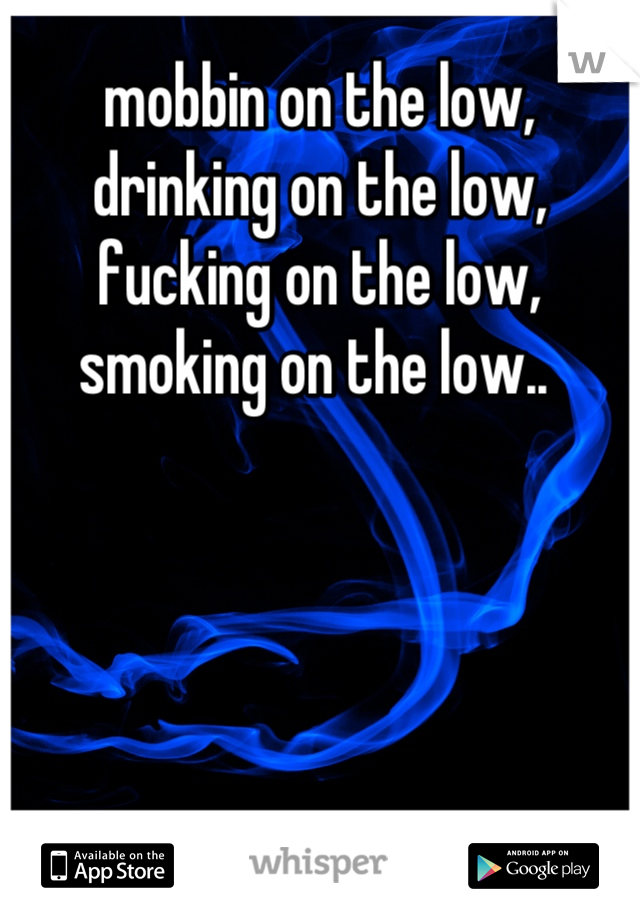 mobbin on the low, drinking on the low, fucking on the low, smoking on the low..