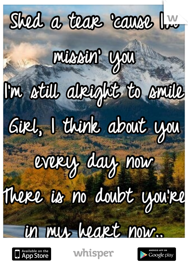 Shed a tear 'cause I'm missin' you I'm still alright to smile Girl, I think about you every day now There is no doubt you're in my heart now..