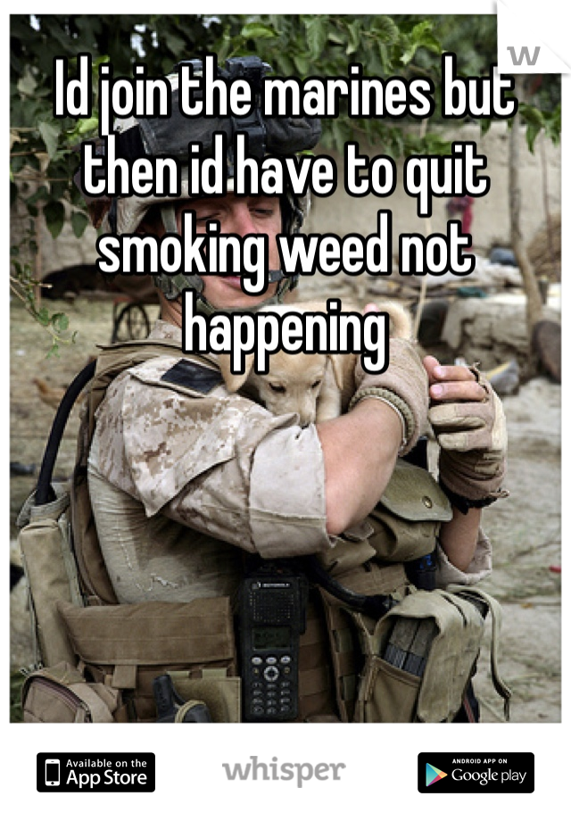 Id join the marines but then id have to quit smoking weed not happening