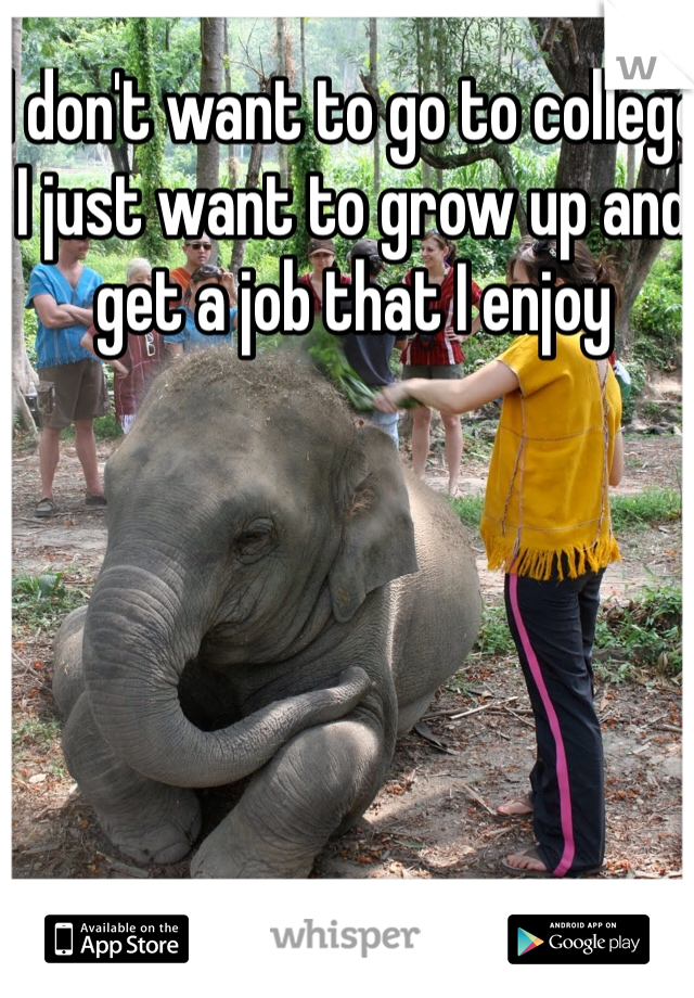 I don't want to go to college I just want to grow up and get a job that I enjoy