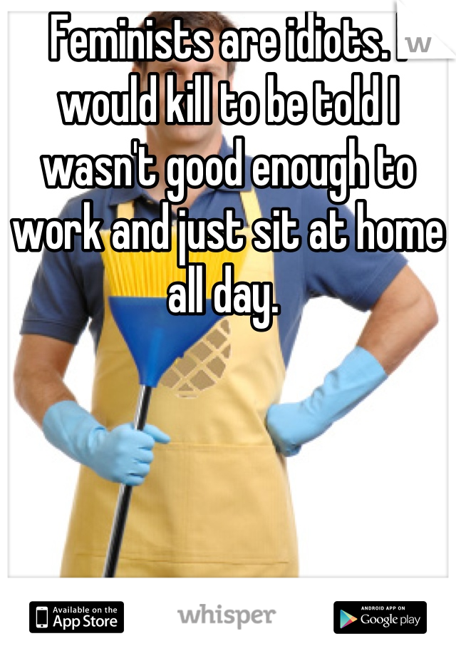 Feminists are idiots. I would kill to be told I wasn't good enough to work and just sit at home all day.
