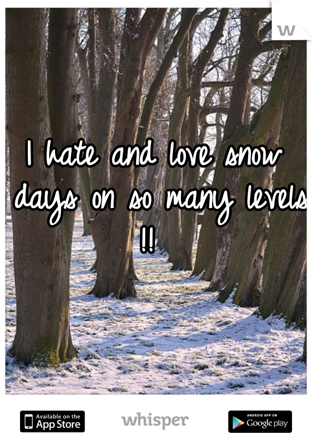I hate and love snow days on so many levels !!