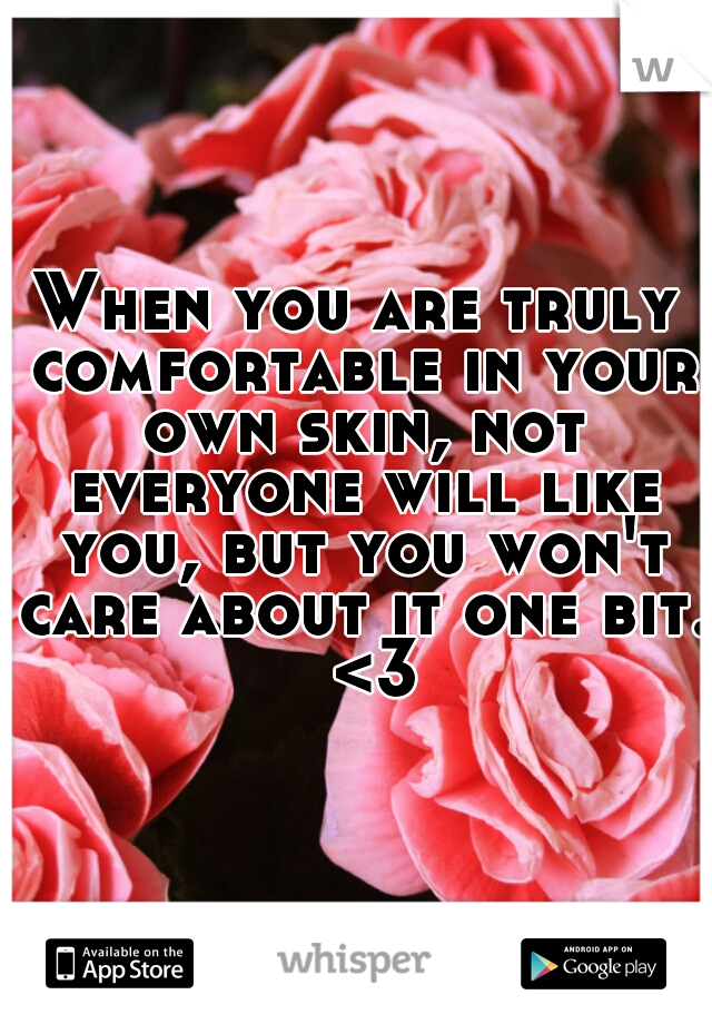 When you are truly comfortable in your own skin, not everyone will like you, but you won't care about it one bit.  <3