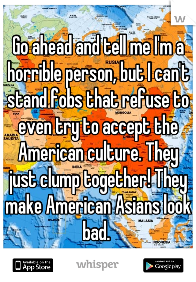 Go ahead and tell me I'm a horrible person, but I can't stand fobs that refuse to even try to accept the American culture. They just clump together! They make American Asians look bad.