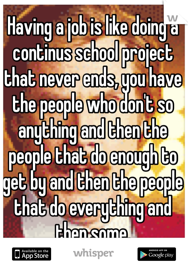 Having a job is like doing a continus school project that never ends, you have the people who don't so anything and then the people that do enough to get by and then the people that do everything and then some.