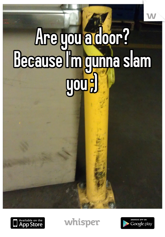 Are you a door?  Because I'm gunna slam you ;)