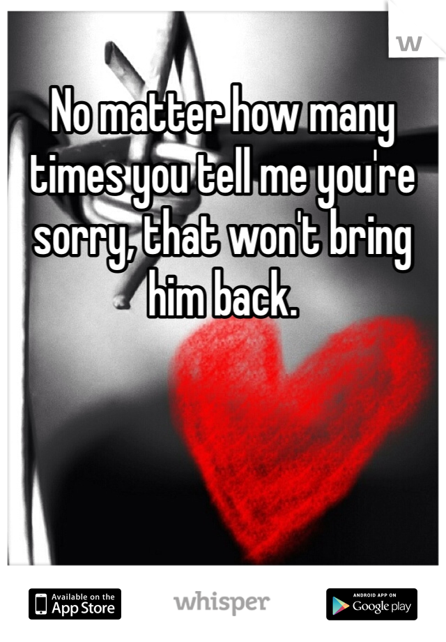 No matter how many times you tell me you're sorry, that won't bring him back.