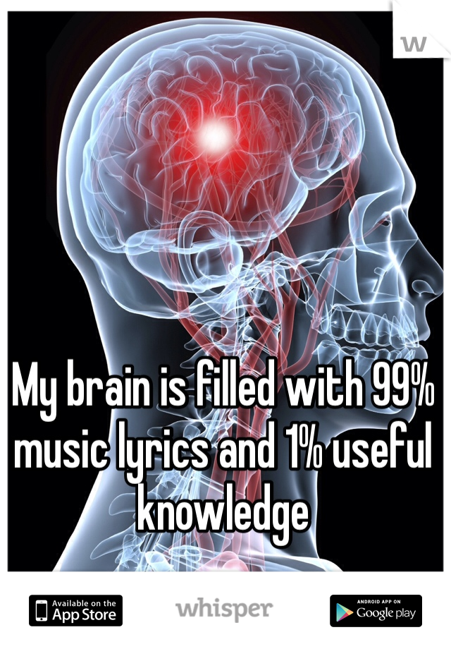 My brain is filled with 99% music lyrics and 1% useful knowledge