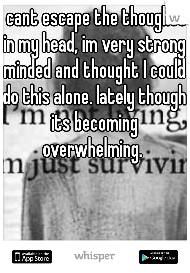 I cant escape the thoughts in my head, im very strong minded and thought I could do this alone. lately though its becoming overwhelming.