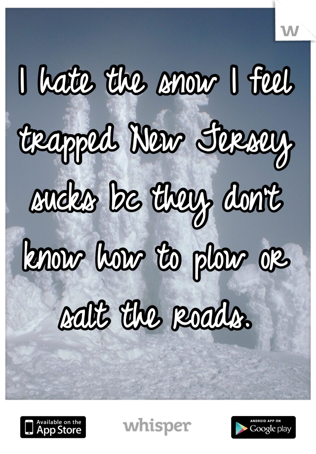 I hate the snow I feel trapped New Jersey sucks bc they don't know how to plow or salt the roads.